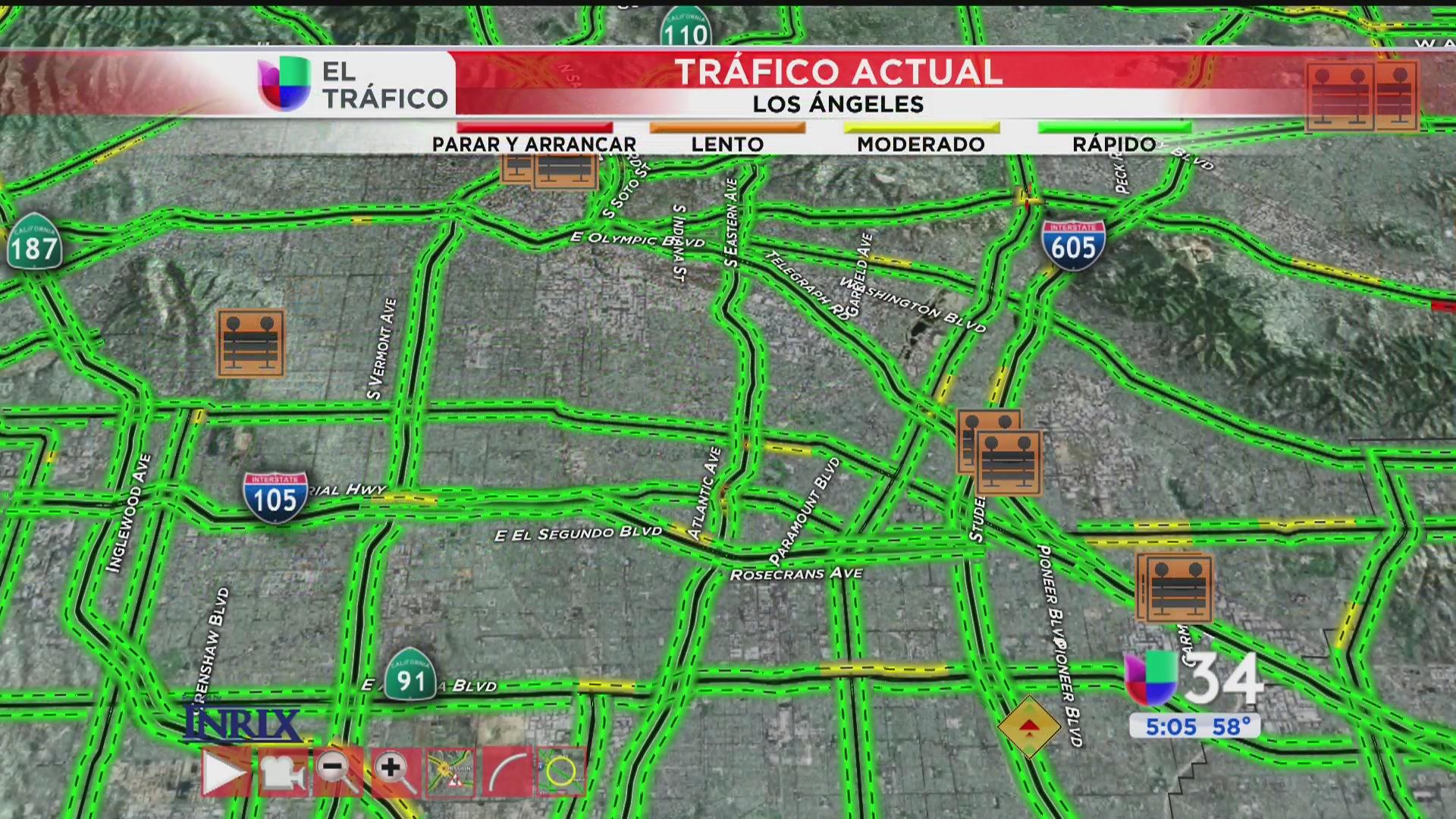 Tráfico lento debido a un choque cerca de la 710 norte