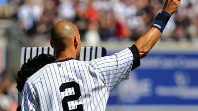 El pelotero durante un homenaje en Yankee Stadium