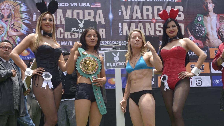 Ibeth Zamora sufrió para dar el peso (Foto: Alma Montiel/WBC).
