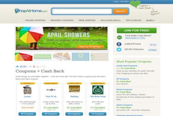 ShopAtHome.com  Este sitio, que ofrece cupones y reembolsos en efectivo...