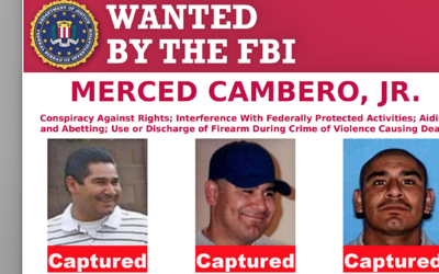 Ficha de los más buscados por el FBI en Los Ángeles.