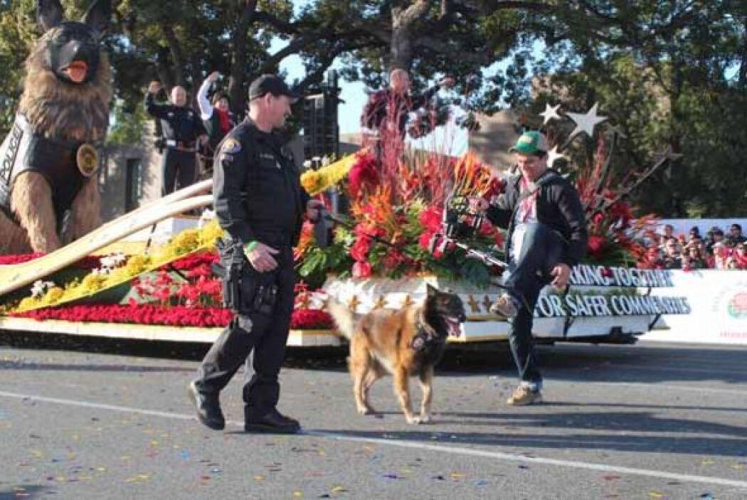 Otro momento cumbre fue cuando uno de los perros policía de  la carroza...