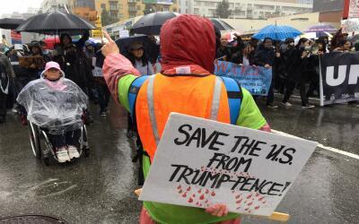 Marcha en Los Ángeles contra la proclamación de Donald Tru...