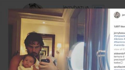 Gerardo Bazúa y su hiijo Eros (c) Instagram