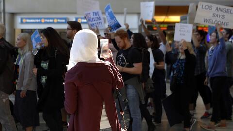 Protestas contra el decreto de Trump que veta la entrada a musulmanes de...