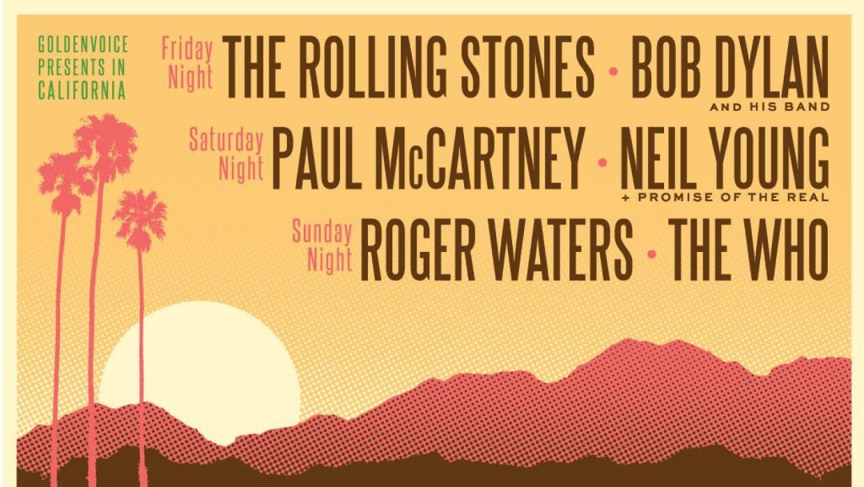 """Cártel de los conciertos del festival """"Desert Trip"""" en el sur de California"""