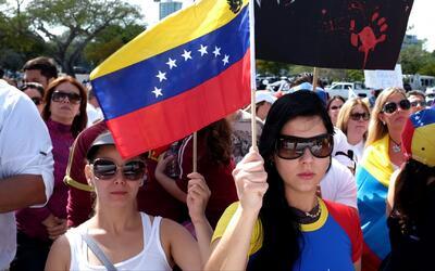 Multitudinaria protesta de miembros de la comunidad venezolana del sur d...