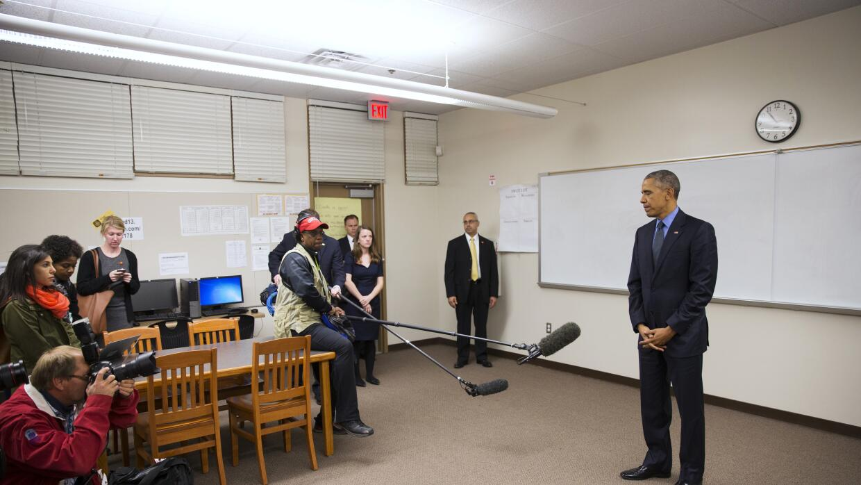 Obama en el Indian Springs High School de San Bernardino.