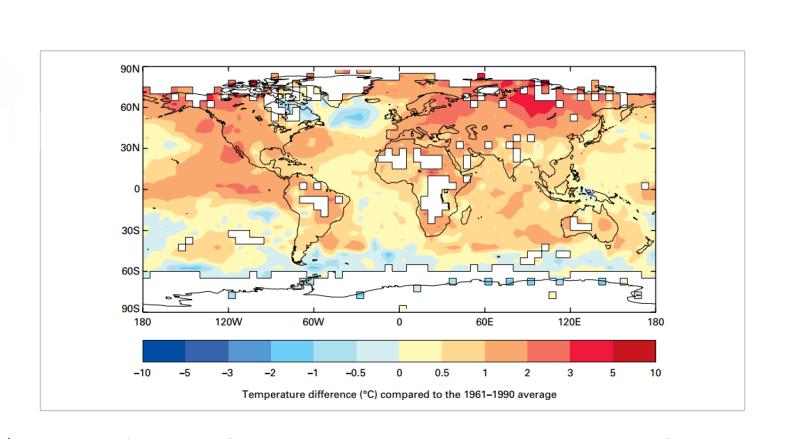 En rojo el alza en grados Celsius de la temperatura con respecto a los r...