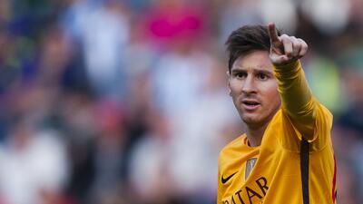 El jugador del Barcelona, Lionel Messi, durante un partido contra M&aacu...