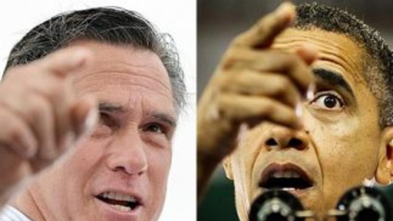 El candidato presidencial republicano, Mitt Romney y el Presidente Barac...