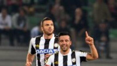 Antonio Di Natale celebra el gol del triunfo del Udinese.