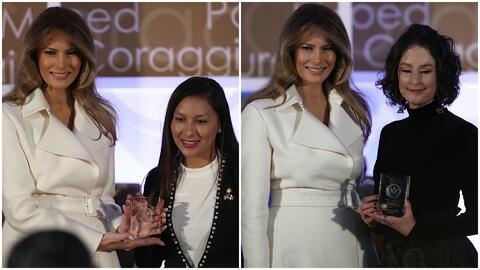 Dos hispanas recibieron el galardón a 'Mujeres de Coraje' entregado por...