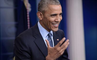 Conferencia de prensa final del presidente saliente Barack Obama, el 18...