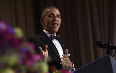Barack Obama durante su actuación en la cena anual de Corresponsales de...