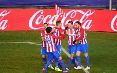 Atlético de Madrid festeja su primer gol ante el Celta de Vigo.