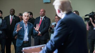 Jorge Ramos questioned Donald Trump during a press conference in Dubuque...