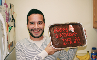 The author celebrating the fourth anniversary of DACA