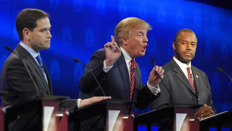 Marco Rubio, Donald Trump y Ben Carson en el tercer debate republicano