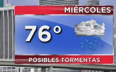 Miércoles nublado, fresco y con posibilidad de tormentas en Miami