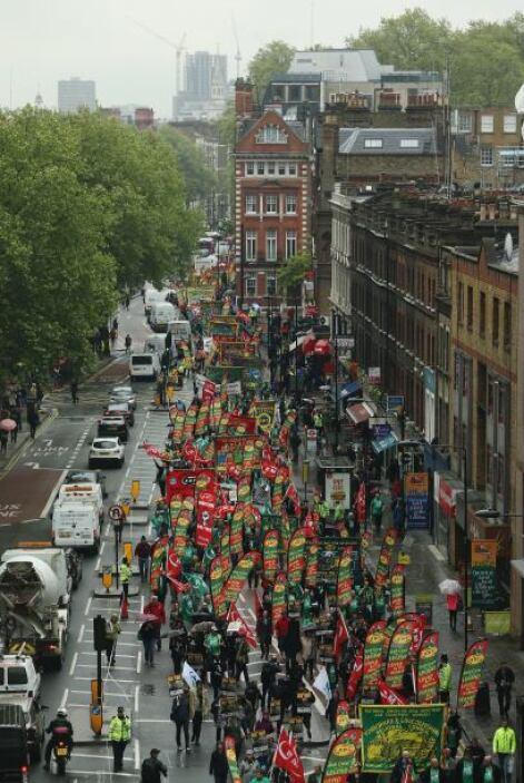 Trafalgar Square fue la sede del festejo del Día del Trabajador.