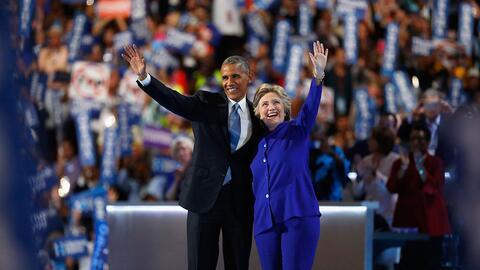 El presidente Barack Obama y la nominada del partido Demócrata Hi...