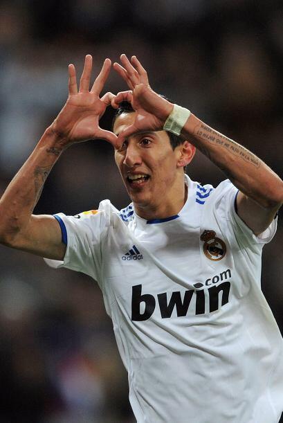 El argentino Angel Di María se unió a la fiesta en el Bernabéu.