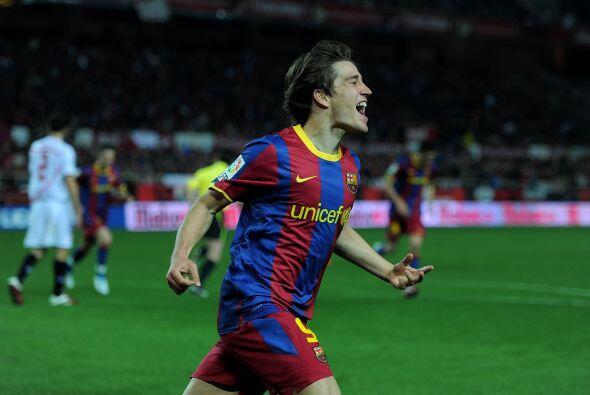 El canterano del Barça salió a festejar su anotación.