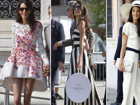 La ahora esposa de George Clooney lució en Venecia atuendos de di...