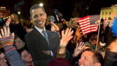 Demócratas festejan el triunfo del presidente Barack Obama.