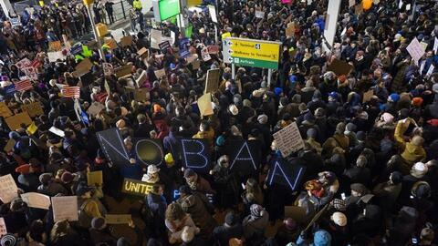 A scene from JFK as crowds protested Trump's January 25 Executive Order.