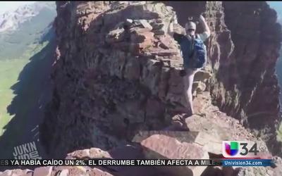 Viral: ¡Osado escalador de montañas!