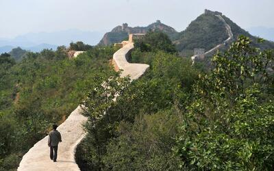 Tramo de la Gran Muralla china cubierto con cemento
