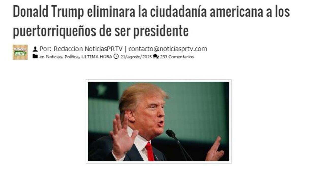 Supuesta Noticia Donald Trump