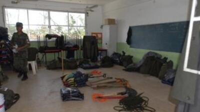 El albergue de la escuela primaria del municipio de Antigua, tiene bajo...