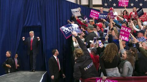 El candidato republicano durante su campaña en Springfield, Ohio.