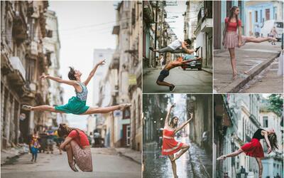 Bailarines flotando en el aire, cruzando la carretera, saltando sobre la...