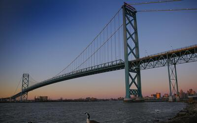 The future Gordie Howe Bridge between Windsor and Detroit will support t...