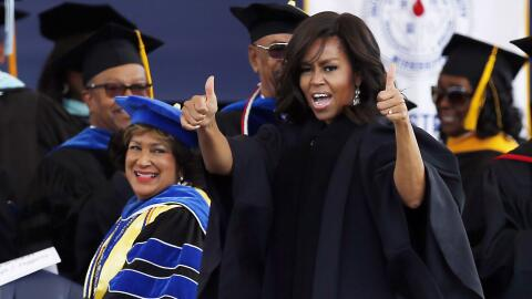 Michelle Obama en la Jackson State University en Mississippi.