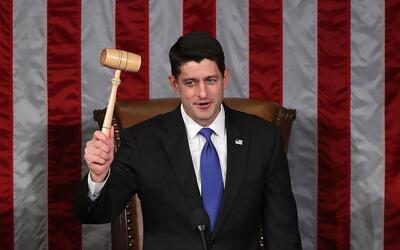 El republicano Paul Ryan, presidente del Congreso, durante el inicio est...