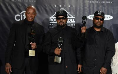 Inductees N.W.A. members Dr. Dre, Ice Cube, MC Ren. pose in the press ro...