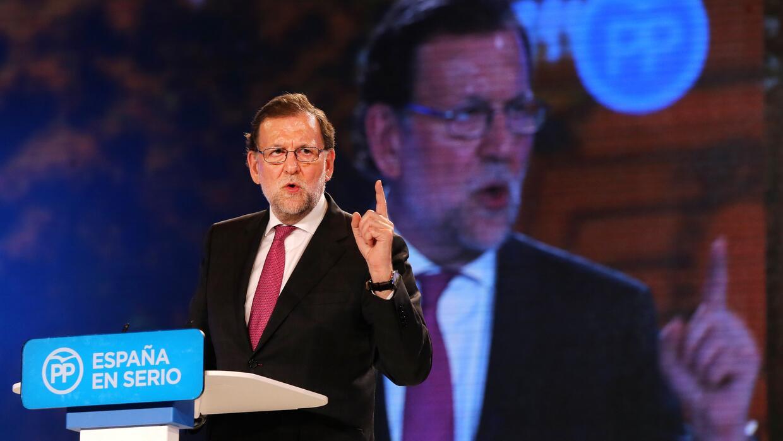Mariano Rajoy, candidato del Partido Popular y presidente de gobierno en...