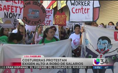 Trabajadores de la costura protestaron en el centro de Los Ángeles