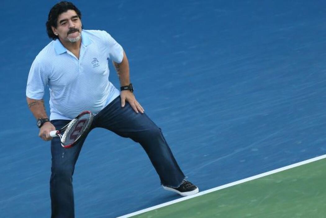 Maradona llegó para apoyar a su compatriota Juan Martín del Potro.