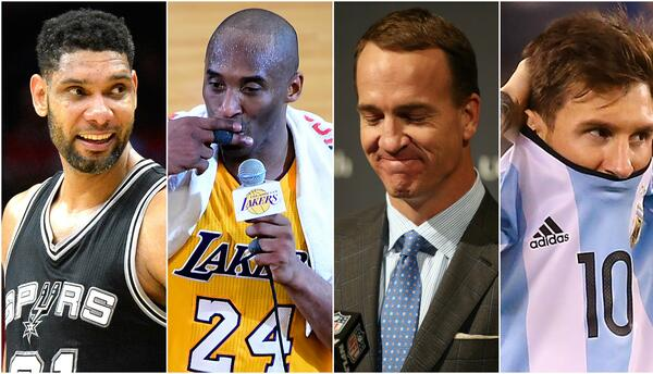 Tim Duncan, Kobe Bryant, Peyton Manning y Lionel Messi