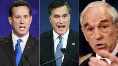 Rick Santorum, el ex gobernador de Massachusetts Mitt Romney y Ron Paul...