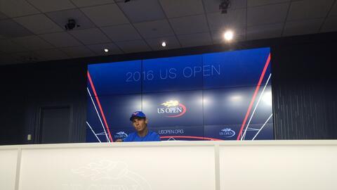 El tenista español Rafael Nadal durante un intercambio con la pre...