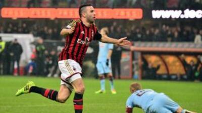 Adil Rami celebra el gol del empate ante Torino.