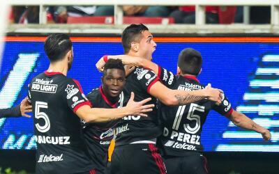 Xolos festejó así su gol ante Chivas.