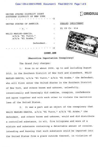 Acusación formal de Walid Makled en la Corte Federal del Distrito Sur de...